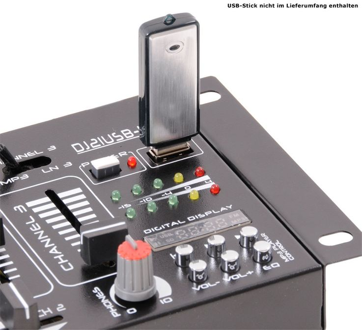 PA DJ Stereo Mixer USB MP3 Party compact 4-channel mixer VU meters Ibiza Sound DJ-21 MKII USB – Bild 5