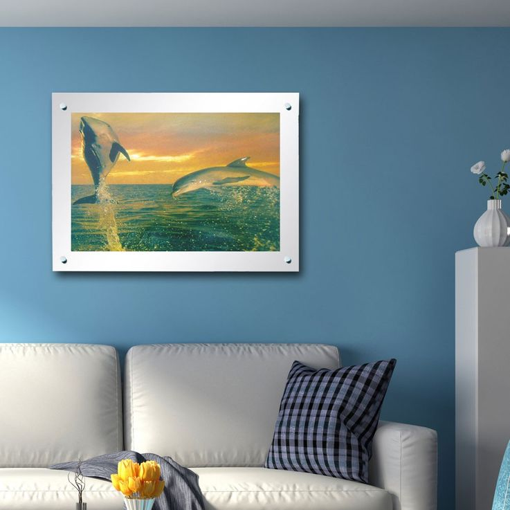 Tableau Dessin dauphin effet décor cadre avec la lumière étamé Globo 28355rti – Bild 2