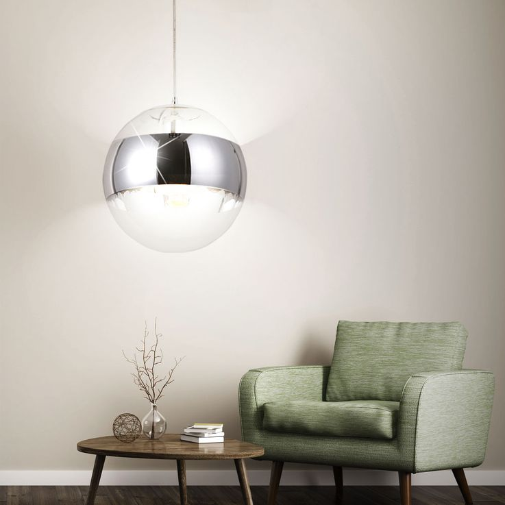 Ceiling hanging lamp living room lighting glass ball chrome pendant light  Globo 15811 – Bild 4