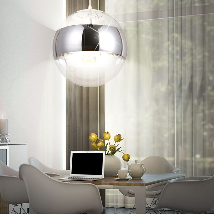 Ceiling hanging lamp living room lighting glass ball chrome pendant light  Globo 15811 – Bild 6