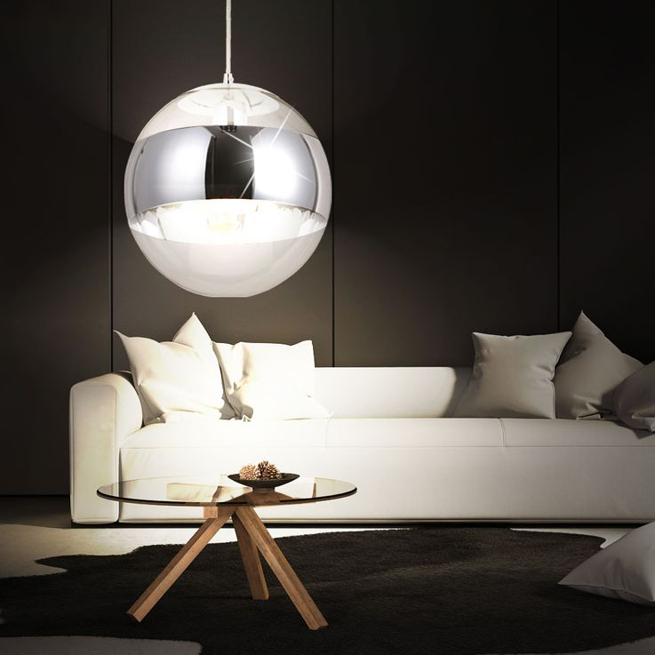 Ceiling hanging lamp living room lighting glass ball chrome pendant light  Globo 15811 – Bild 5