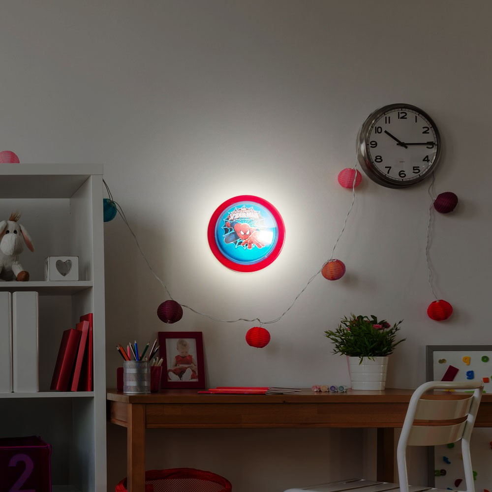 spiderman dekorationsleuchte f r das kinderzimmer lampen. Black Bedroom Furniture Sets. Home Design Ideas