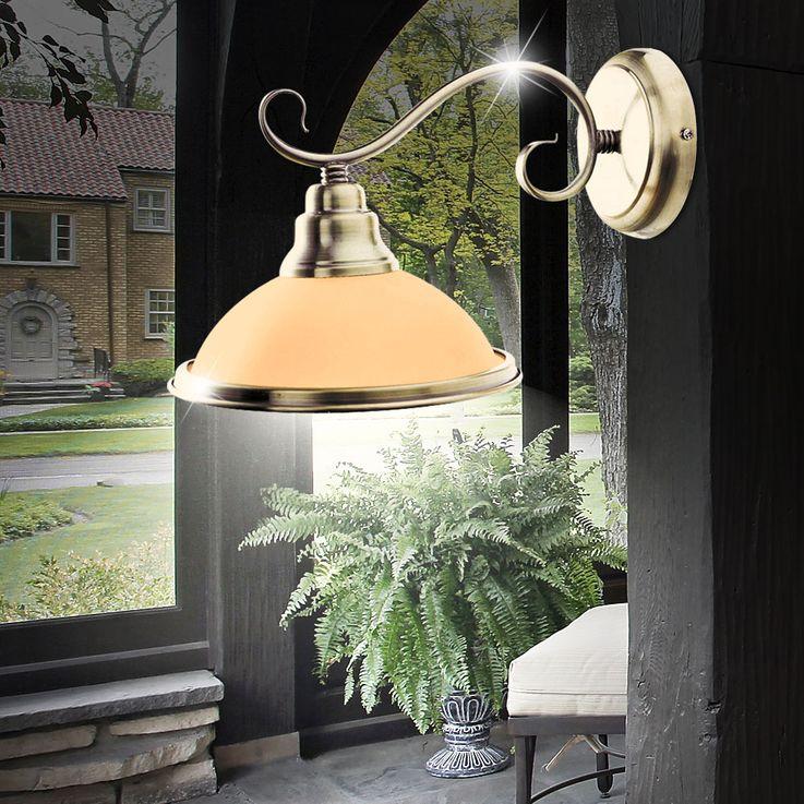 Wand Lampe Wohn Arbeits Zimmer Leuchte Messing Glas Amber Lese Strahler Globo 6905-1W – Bild 2