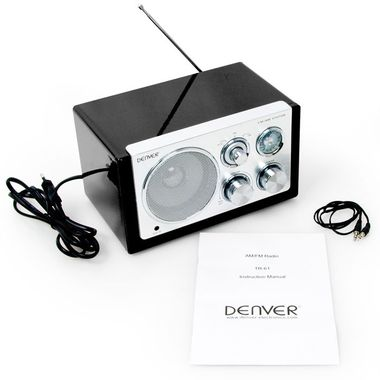 Designradio Batterie AUX Antenne Radio Tuner Netzbetrieb MP3 Denver TR-61BLACK – Bild 6