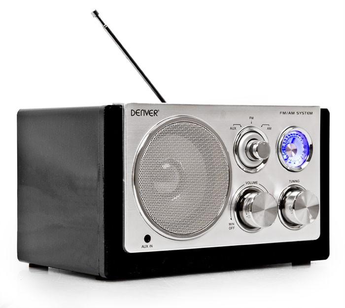 Designradio Batterie AUX Antenne Radio Tuner Netzbetrieb MP3 Denver TR-61BLACK – Bild 1