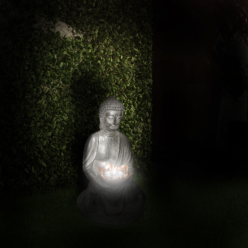 luminaire solaire led bouddha sculpture figure acrylique jardin terrasse d co ebay. Black Bedroom Furniture Sets. Home Design Ideas
