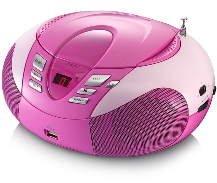 Multimedia CD Player FM AM radio tuner MP3 WMA USB LED Display Lenco SCD-37 USB pink – Bild 1