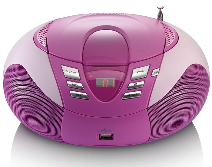 Multimedia CD-Player UKW MW Radio Tuner MP3 WMA USB LED Display Lenco SCD-37 USB pink – Bild 2