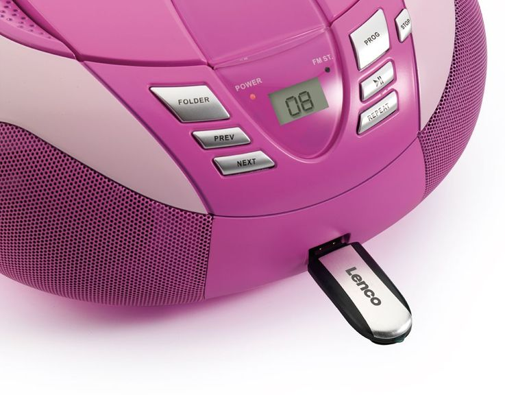 Multimedia CD-Player UKW MW Radio Tuner MP3 WMA USB LED Display Lenco SCD-37 USB pink – Bild 4