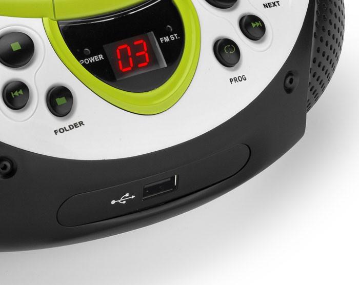 Tragbarer CD-Player MP3 USB Anschluss Radio Tuner AUX LED Lenco SCD-38 USB grün – Bild 5