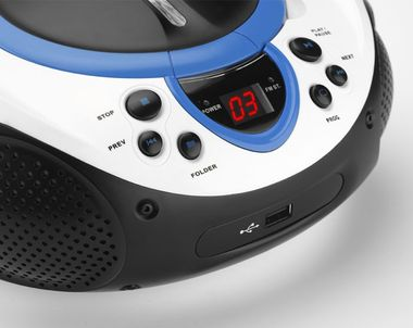 Tragbarer CD-Player MP3 USB Anschluss Radio Tuner AUX LED Lenco SCD-38 USB blau – Bild 5