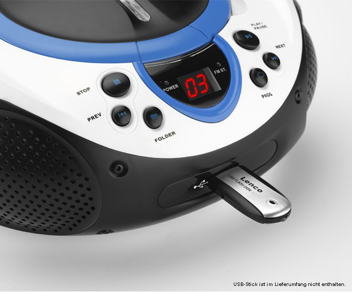 CD-Player MP3 USB Radio Tuner AUX LED Lenco SCD-38 USB blau – Bild 4