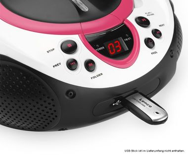 Tragbarer CD-Player MP3 USB Anschluss Radio Tuner AUX LED Lenco SCD-38 USB pink – Bild 4