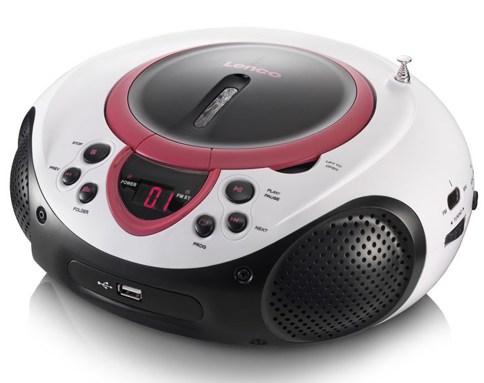 Portable CD Player MP3 USB Port Radio Tuner AUX LED Lenco SCD-38 USB Pink – Bild 3