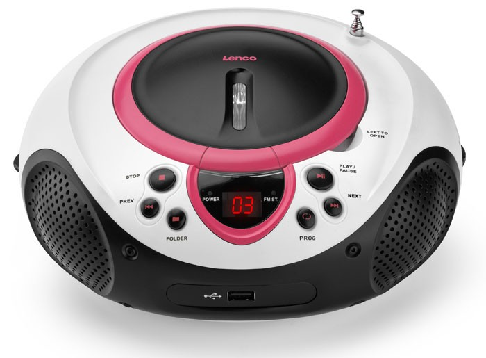 Portable CD Player MP3 USB Port Radio Tuner AUX LED Lenco SCD-38 USB Pink – Bild 2