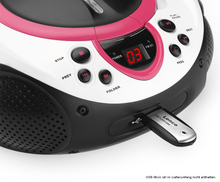 Portable CD Player MP3 USB Port Radio Tuner AUX LED Lenco SCD-38 USB Pink – Bild 4