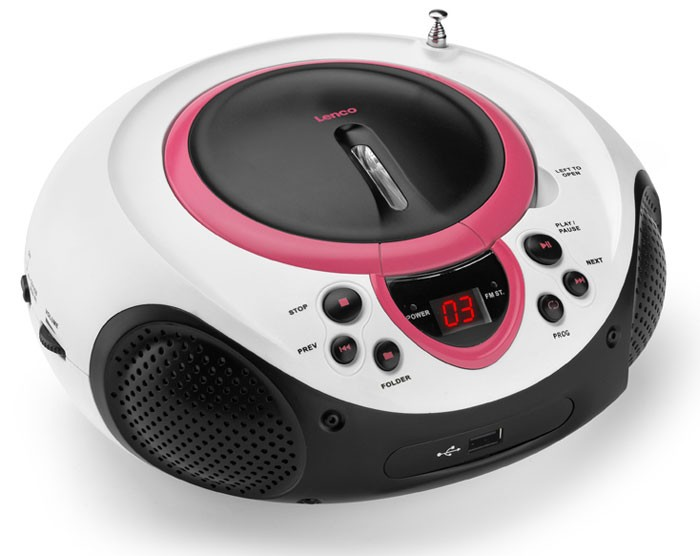 Portable CD Player MP3 USB Port Radio Tuner AUX LED Lenco SCD-38 USB Pink – Bild 1
