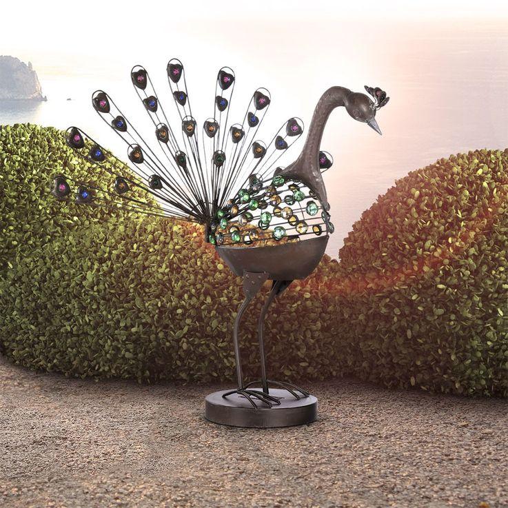 Solarlampe PFAU aus Metall und Glas in rostfarbig bunt – Bild 4