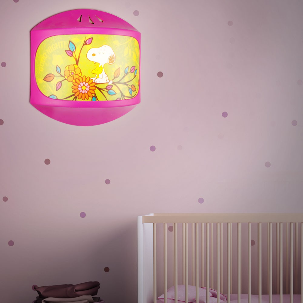 kinderzimmer beleuchtung m dchen lampe rosa wand wandlampe wandleuchte snoopy ebay. Black Bedroom Furniture Sets. Home Design Ideas