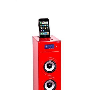 Music tower Soundtower Ipod Iphone Docking Station SD AUX USB BigBen Glossy Red – Bild 2
