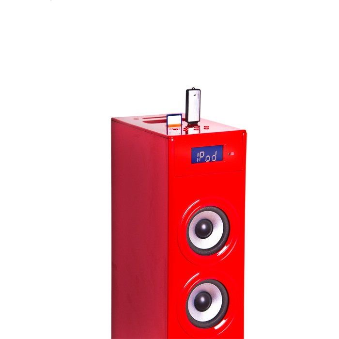 Music tower Soundtower Ipod Iphone Docking Station SD AUX USB BigBen Glossy Red – Bild 3