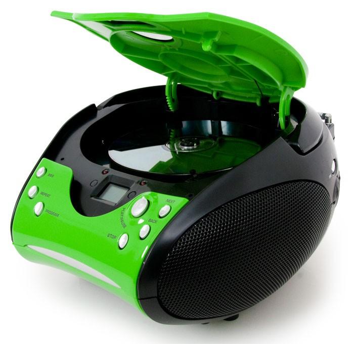 Tragbarer CD-Player UKW Radio FM Tuner Stereoanlage Lenco SCD-24 grün-schwarz – Bild 2