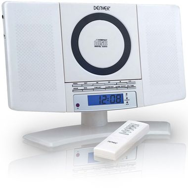 Mini stereo compact system alarm clock CD-player radio aux Denver MC-5220 white – Bild 1
