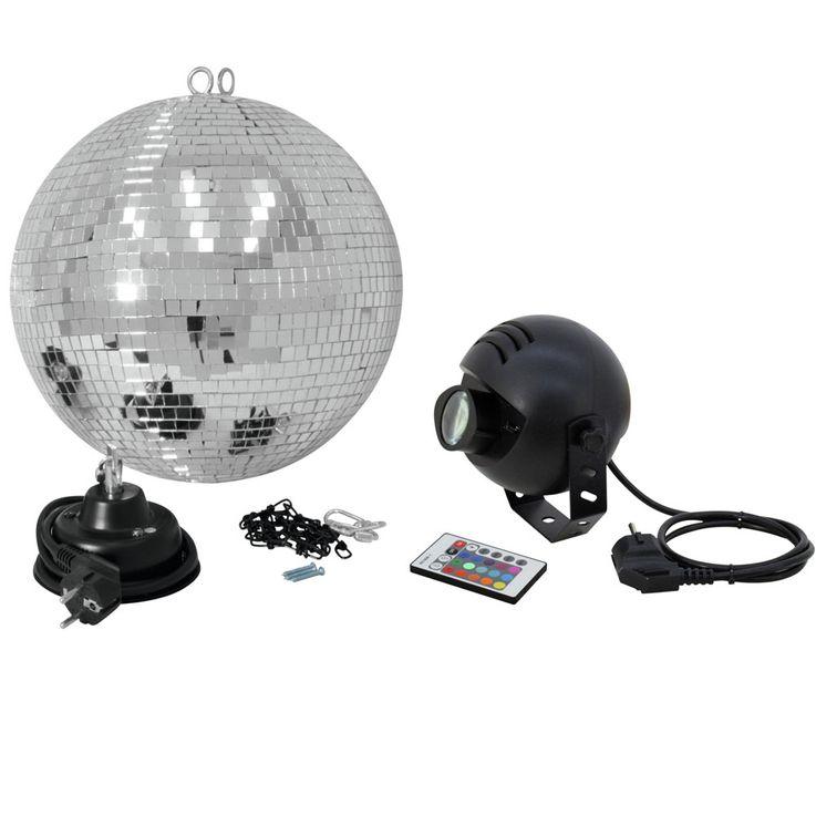 Boule Á facettes 20cm avec LED RGB spot IR boule disco Lite Euro 50101857 – Bild 1