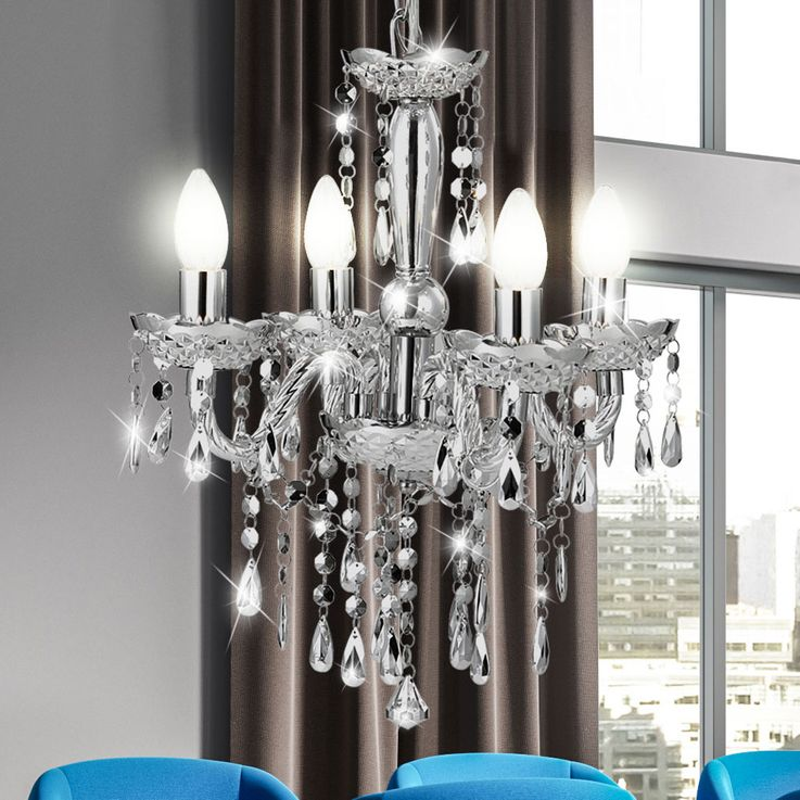 Design Chandelier Overhead Lights Ceiling Lamp Chrome Globo Cumbra 63117-4 – Bild 3