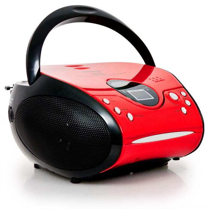 Tragbarer CD-Player UKW Radio Lenco SCD-24 rot-schwarz – Bild 1