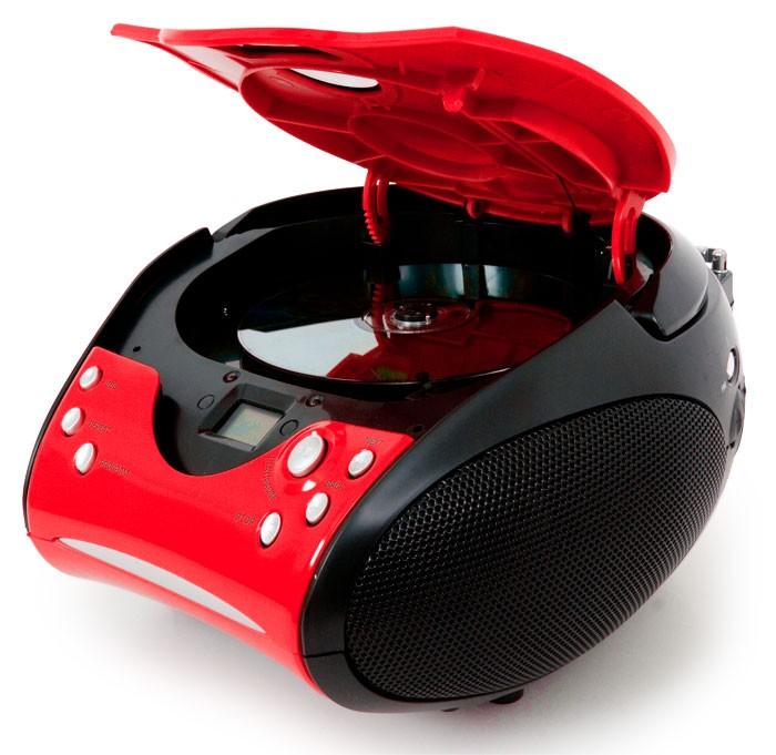 Tragbarer CD-Player UKW Radio Lenco SCD-24 rot-schwarz – Bild 2