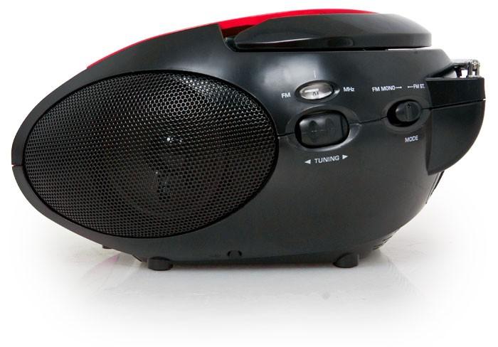 Tragbarer CD-Player UKW Radio FM Tuner Batterie Lenco SCD-24 rot-schwarz – Bild 3