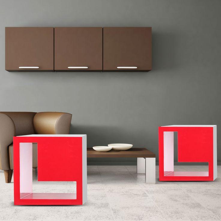Etagère bois design amour régale mur MDF rouge BHP Love B421014-5 – Bild 3