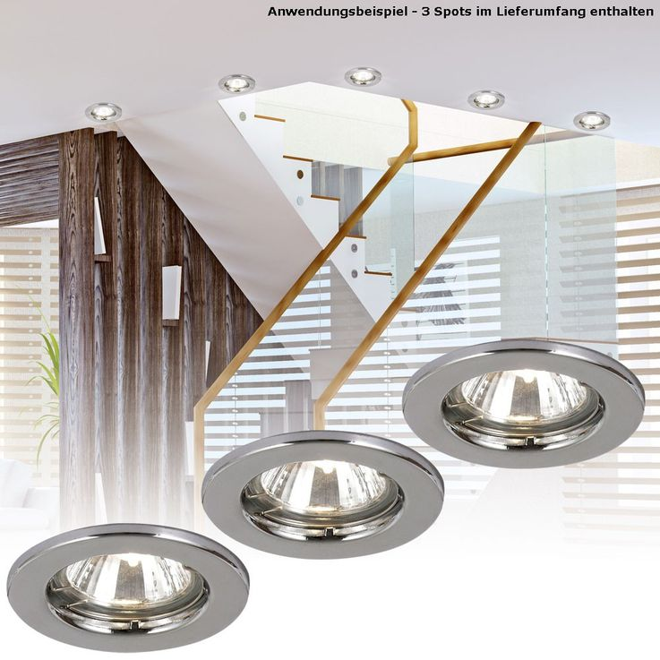 Recessed light fitting lamp spotlights lighting metal chrome 50W Globo 12101-3 – Bild 2