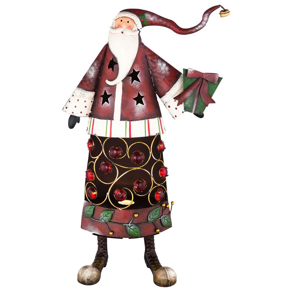 weihnachtsmannlampe mit dekorsteinen aus metall in rot wei lampen m bel m bel weihnachtswelt. Black Bedroom Furniture Sets. Home Design Ideas