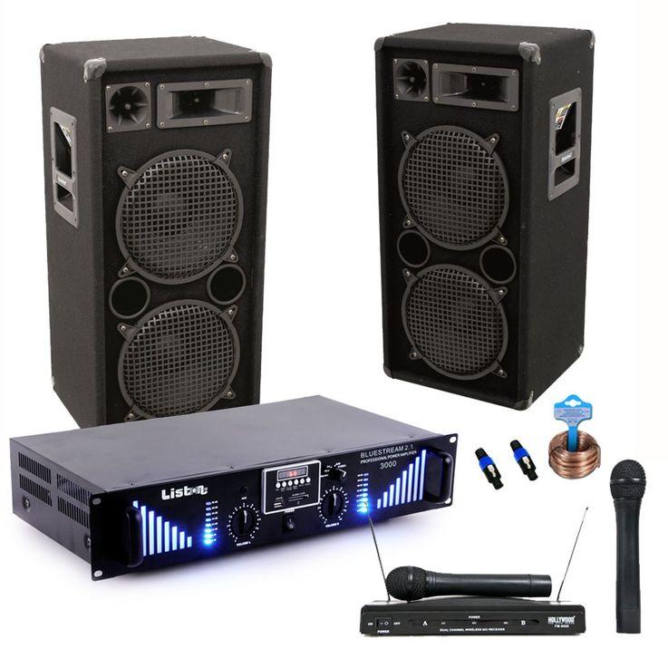 PA system 3000W USB amplifier MP3 SD power amplifier Funkmikrofon-system boxes DJ-Typhoon – Bild 1