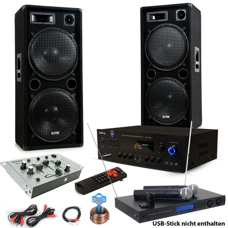 3000W PA Party Musikanlage Boxen USB SD MP3 Bluetooth Verstärker Mixer Funkmikrofon DJ-Tornado – Bild 1