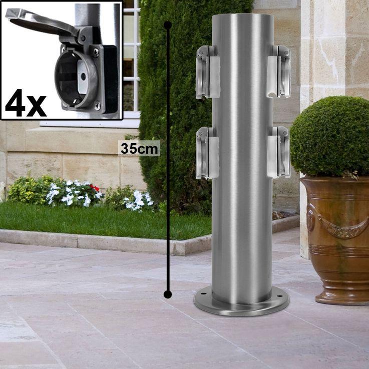 2x/4x Prises de courant rondes jardin terrasse acier inoxydable BTR BT1003P_var – Bild 9