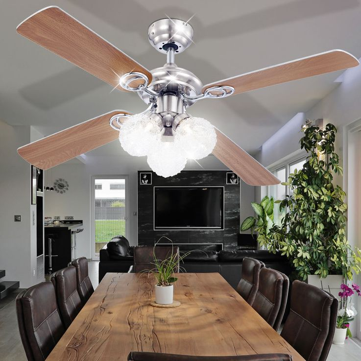 Ceiling fan with light and pull switch lamp ceiling lighting Globo Enigma 0329 – Bild 3