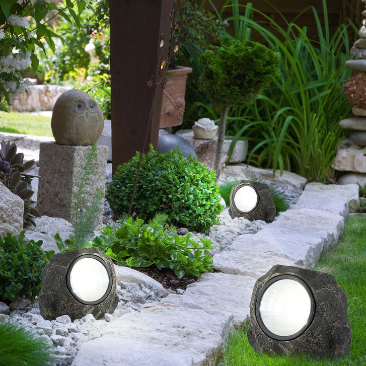 Solar Stein Leuchte LED Garten Beleuchtung Dekoration Lampe IP44 Terrasse Licht – Bild 3