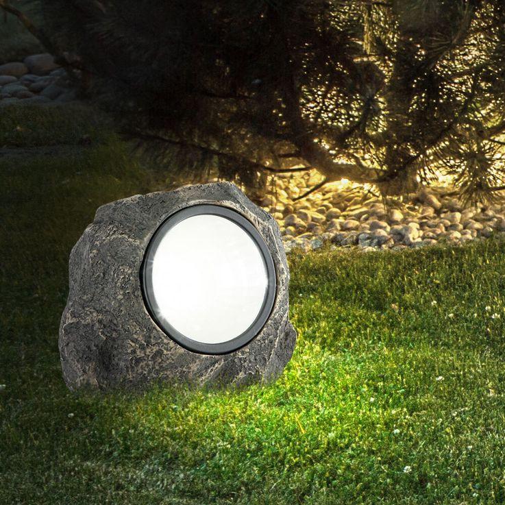 Solar Stein Leuchte LED Garten Beleuchtung Dekoration Lampe IP44 Terrasse Licht – Bild 4