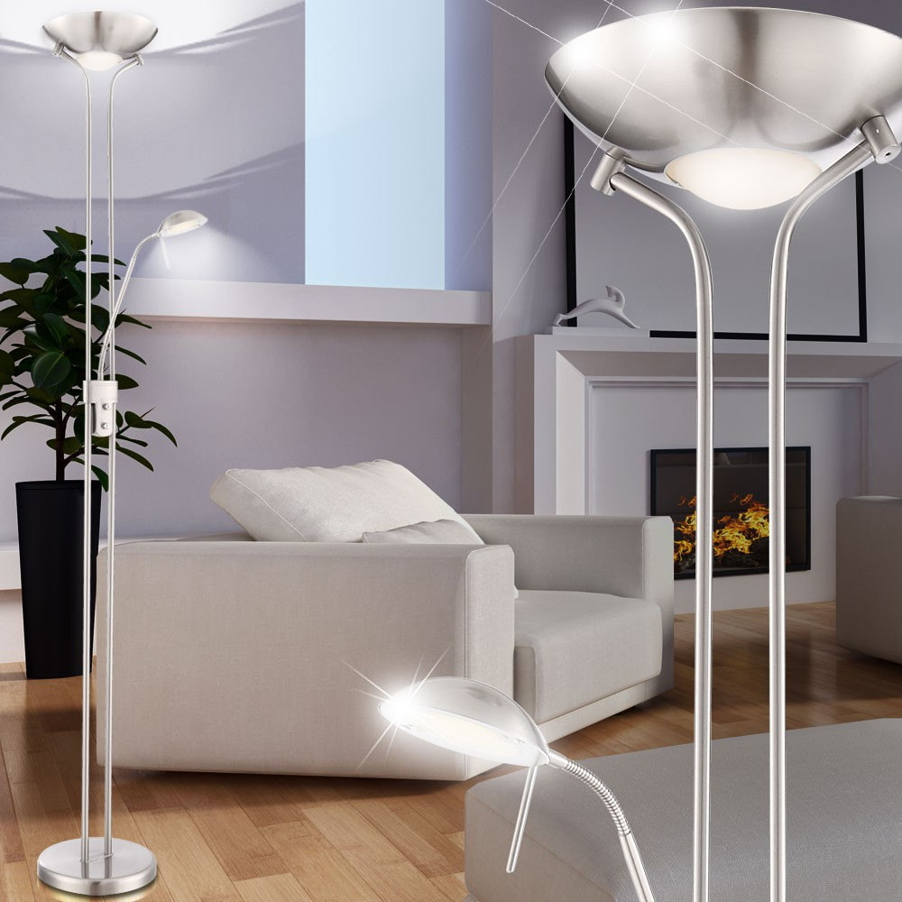 Modern LED torchiere with flexible reading lamp - Leonas – Bild 4