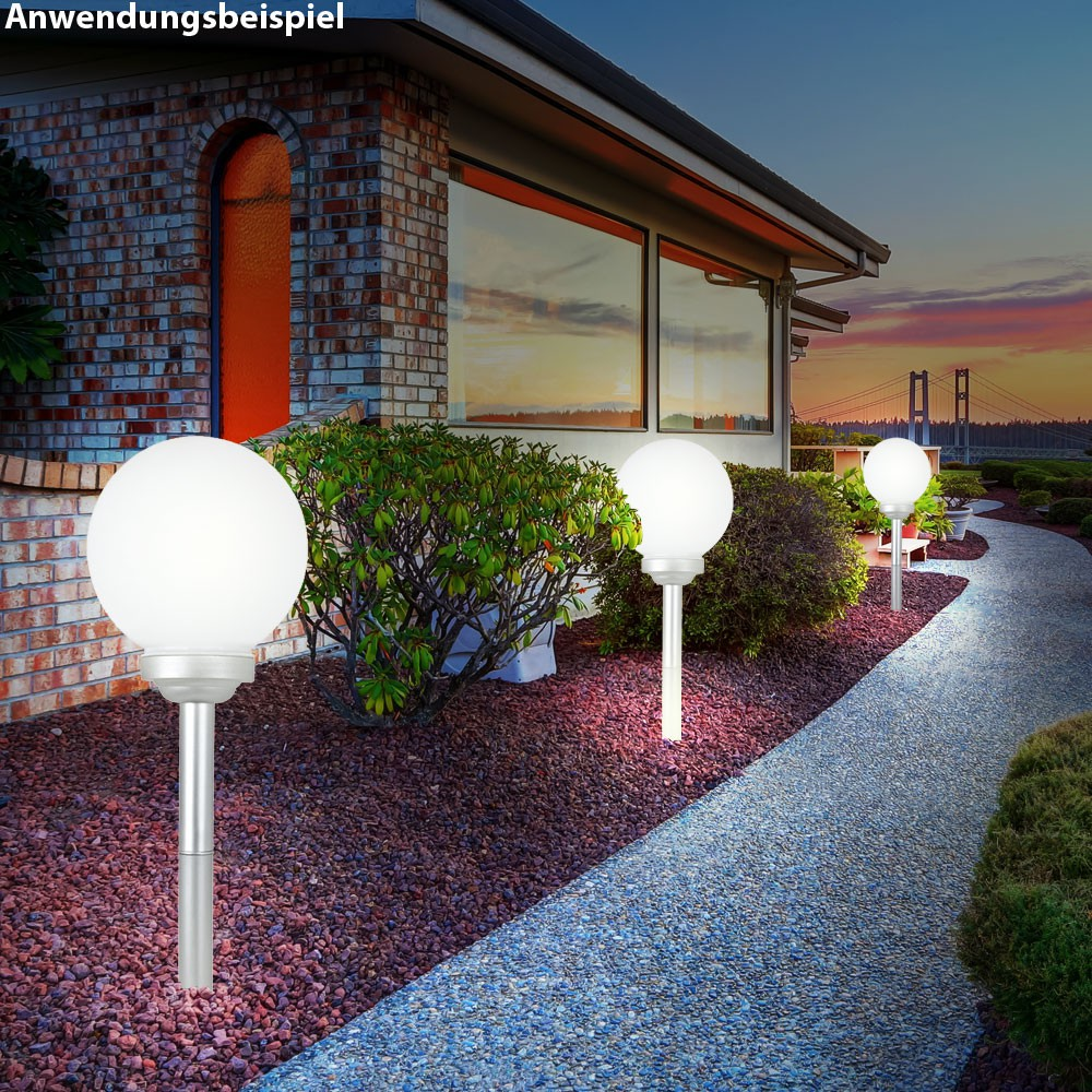 2er set led solar kugeln erdspie garten beleuchtung au en steck lampen terrasse ebay. Black Bedroom Furniture Sets. Home Design Ideas