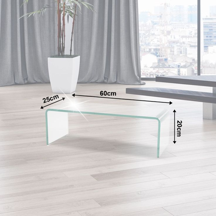 TV cabinet glass top monitor increase glass curved glass table 60cm HAGEN B153048-1 – Bild 2