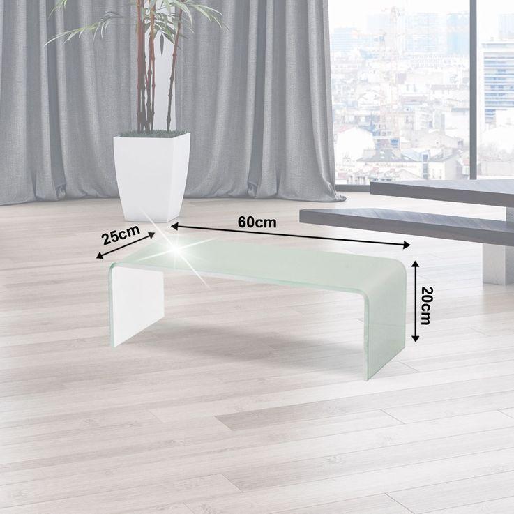 TV-Schrank Glasaufsatz Monitorerhöhung Glas Weiß gebogen Glastisch 60cm HAGEN B153048-3S – Bild 2