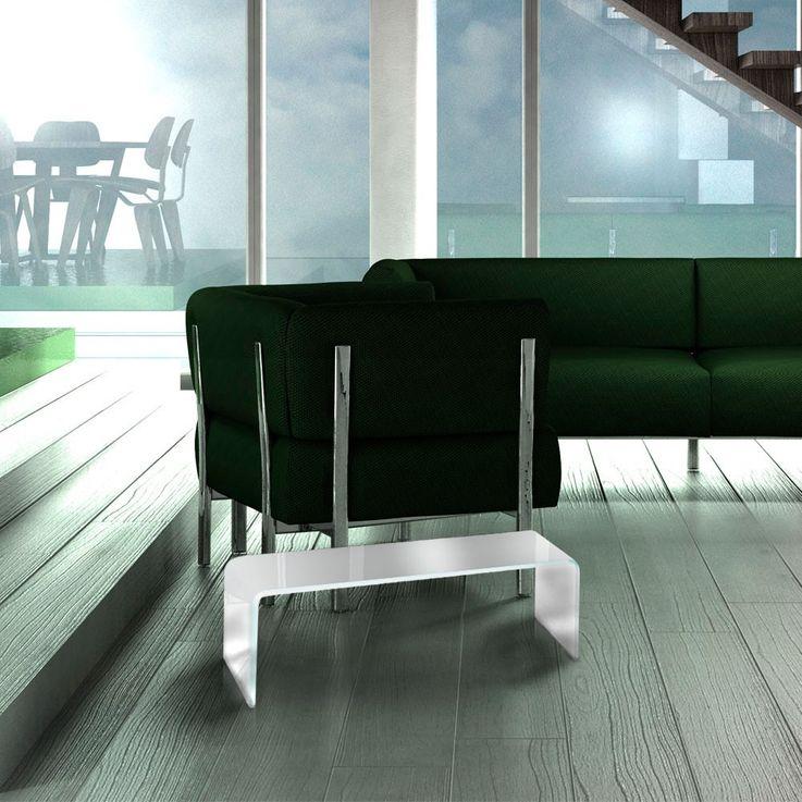 TV-Schrank Glasaufsatz Monitorerhöhung Glas Weiß gebogen Glastisch 60cm HAGEN B153048-3S – Bild 5