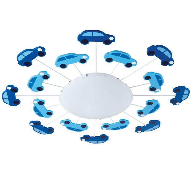 Kinder Decken Lampe blau Jungen Spiel Zimmer Beleuchtung Glas Auto Wand Leuchte satiniert Eglo 92146 – Bild 1