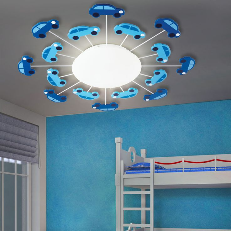 Kids Ceiling Lamp Blue Boys Game Room Lighting Glass Car Wall Luminaire Satin Eglo 92146 – Bild 3