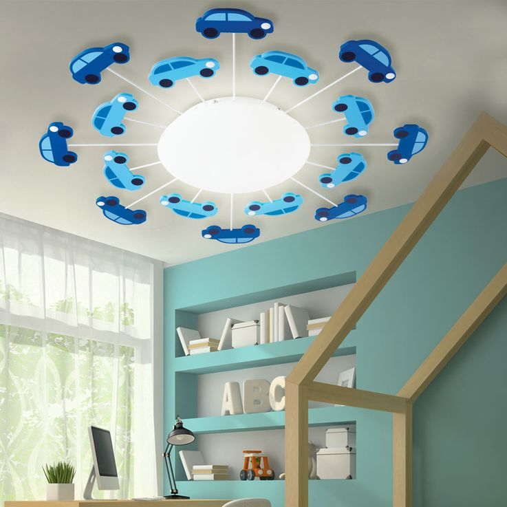 Kids Ceiling Lamp Blue Boys Game Room Lighting Glass Car Wall Luminaire Satin Eglo 92146 – Bild 2