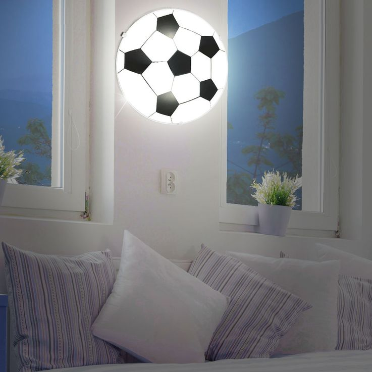 Wall lamp children game room ceiling lighting round glass football lamp satin Eglo 87284 – Bild 4